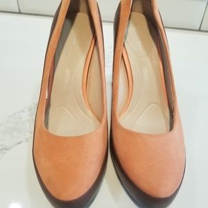 Rockport peach suede and brown leather heels